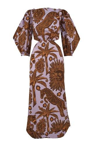 Printed Puff-Sleeve Cotton Midi Dress