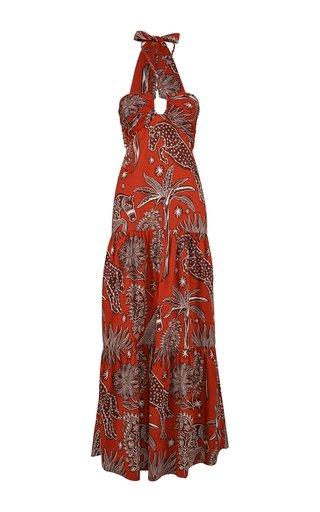 Senores Del Fuego Printed Cotton Maxi Dress