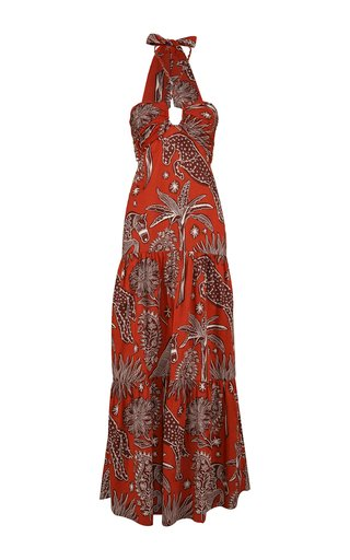 Senores Del Fuego Printed Cotton Maxi Dress