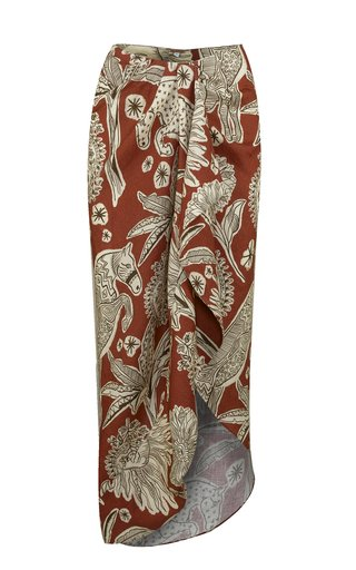 Printed Linen Wrap Skirt