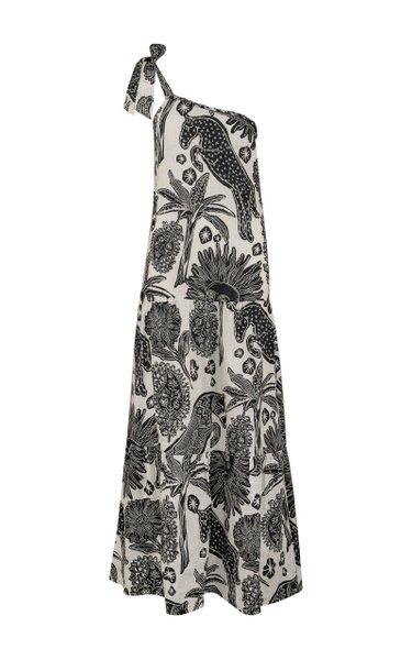 Galapago Printed Linen One-Shoulder Maxi Dress