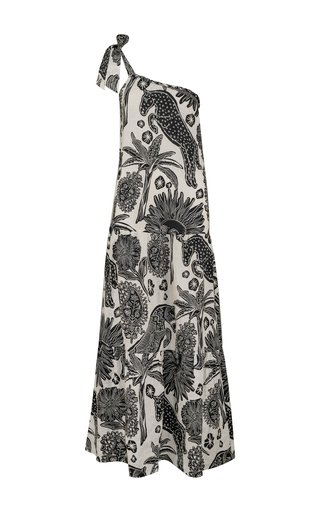 Galapago Printed Linen One-Shoulder Maxi Dress