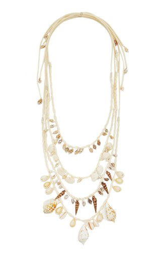 Guitarra Mia Shell and Leather Necklace Set