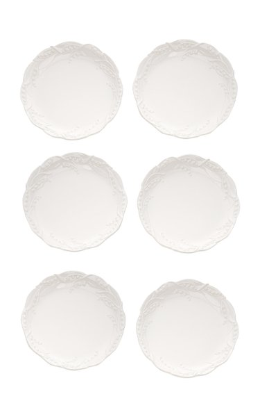 Set of 6 Lily of the Valley Ceramic Dinner Plates