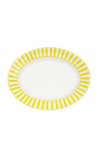 Striped Ceramic Oval Serving Tray