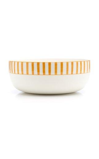 Large Striped Ceramic Serving Bowl