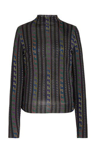 Greca-Print Stretch-Cotton Sweater