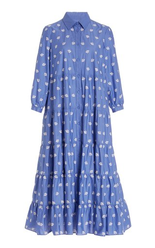 Patmos Tiered Floral-Embroidered Cotton-Blend Midi Shirt Dress