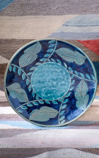 Turquoise Leaf Ceramic Plate