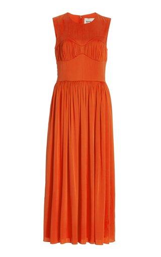Demy Ruched Silk Midi Dress