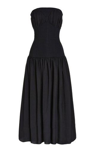 Viktorija Paneled Crepe and Stretch-Wool Midi Dress