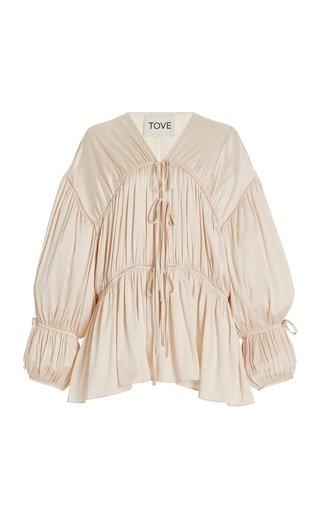 Zoe Gathered Stretch-Silk Top