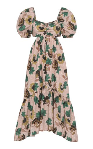 Midge Floral-Print Tiered Midi Dress