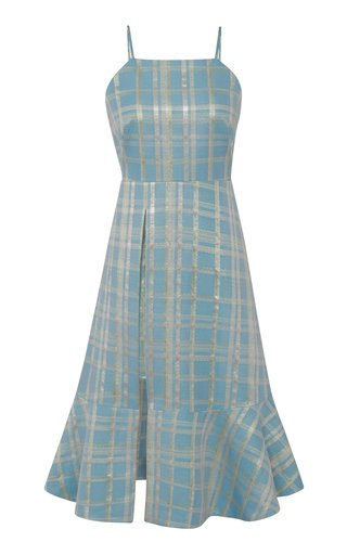 Posy Plaid-Print Cotton-Blend Dress