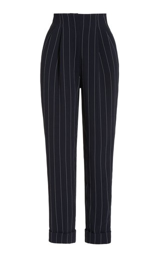 Gus Pin-Striped Crepe Straight-Leg Pants