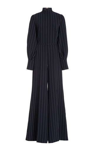 Elvis Pin-Striped Crepe Jumpsuit