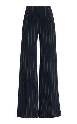 Hullinie Pin-Striped Crepe Wide-Leg Pants