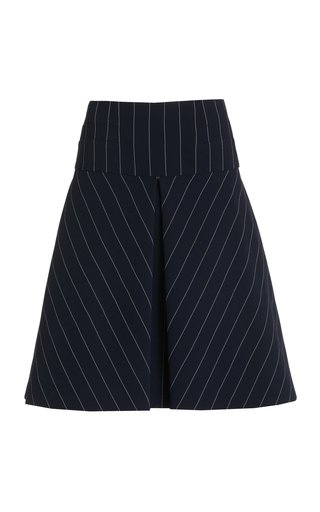 Tia Pin-Striped Crepe A-Line Skirt