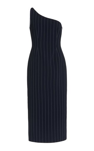 Milan Pin-Striped Crepe One-Shoulder Midi Dress