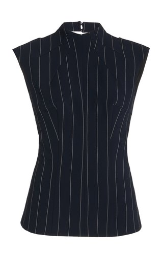 Leo Pin-Striped Crepe Top