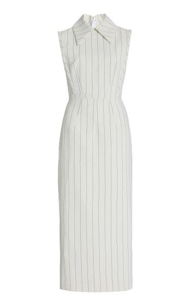 Miles Pin-Striped Crepe Midi Dress