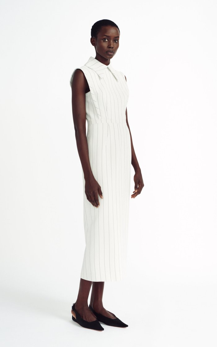 Miles Pin-Striped Crepe Midi Dress