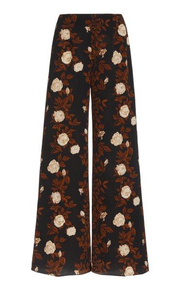 Hullinie Floral Crepe Georgette Flared-Hem Pants
