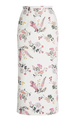 Lorinda Floral-Printed Taffeta Faile Midi Skirt