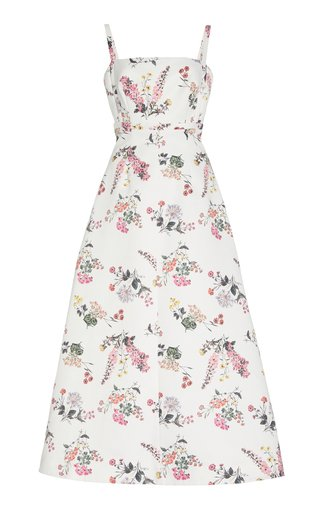 Felipe Botanical-Printed Taffeta Faile A-Line Dress