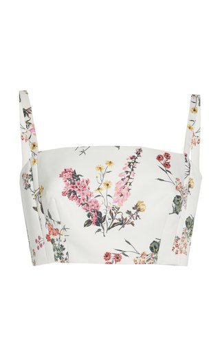 Fabiola Botanical-Print Taffeta Faile Crop Top