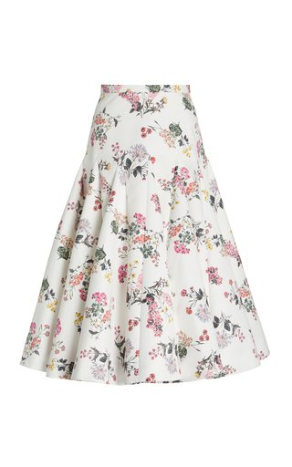 Aimee Botanical-Print Taffeta Faile Tiered A-Line Skirt
