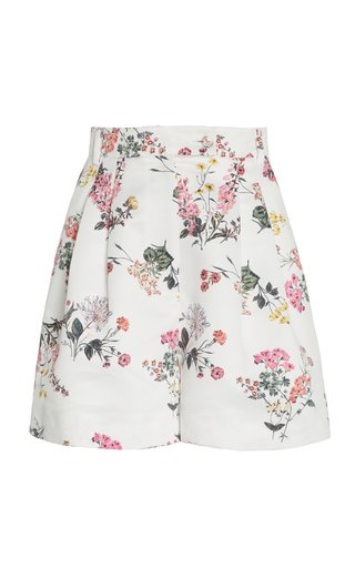 Elliot Botanical-Print Taffeta Faile Mini Shorts