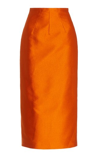 Lorinda Double Cloque Midi Skirt