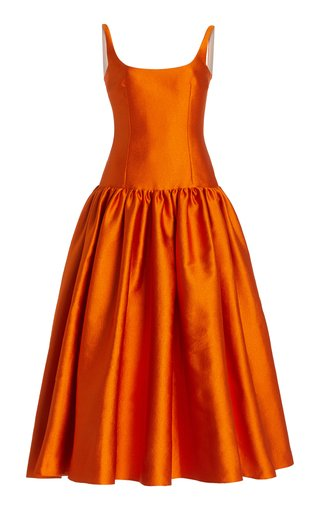 Galen Double Cloque Pleated A-Line Dress