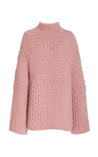 Raw Cable Knit Oversized Turtleneck Sweater