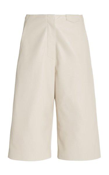 Tazu Tailored Vegan Leather Bermuda Shorts