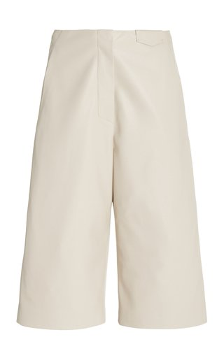 Tazu Tailored Vegan Leather Bermuda Shorts