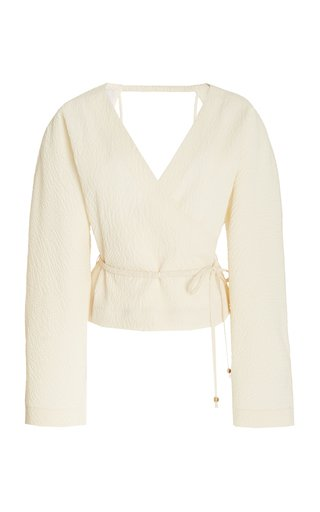 Abel Wrap Top With Balloon Sleeves