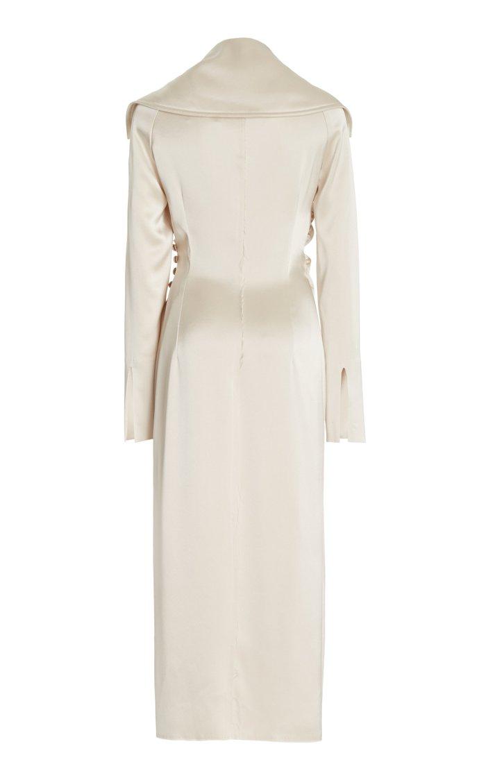 Lanza Draped Midi Dress With Open Neckline