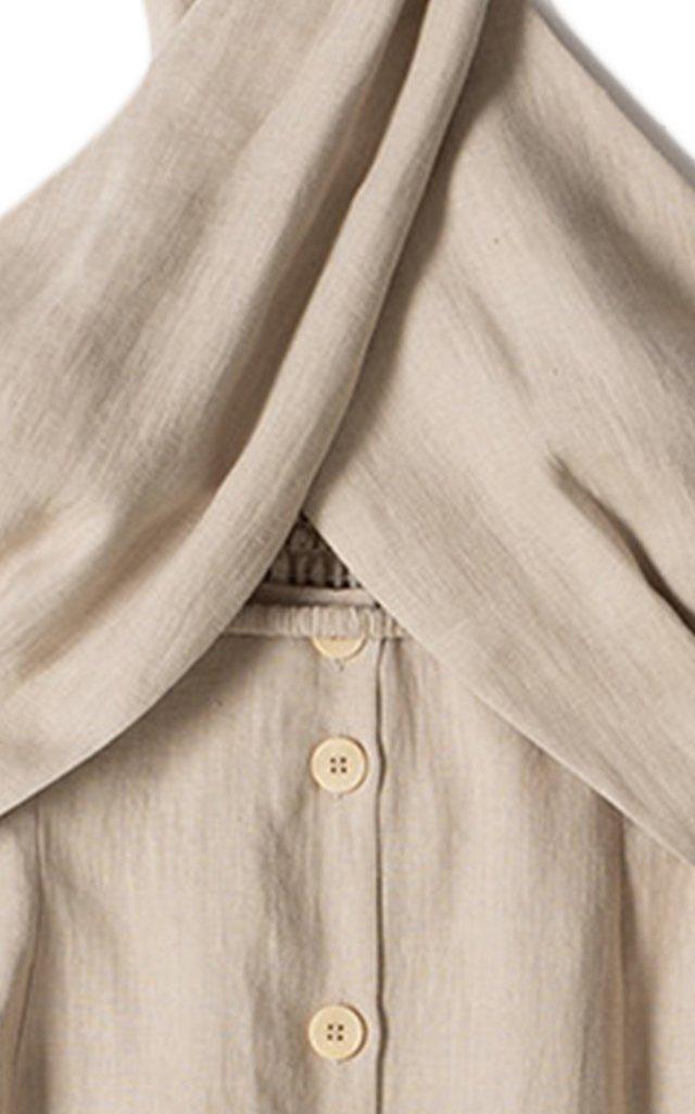 Soffio Cutout Halter Linen Midi Dress