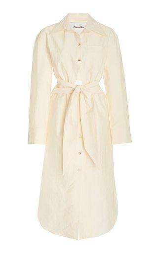 Rowan Cotton-Blend Cutout Midi Shirt Dress