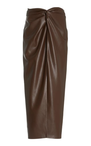 Inci Vegan Leather Twisted-Front Midi Skirt