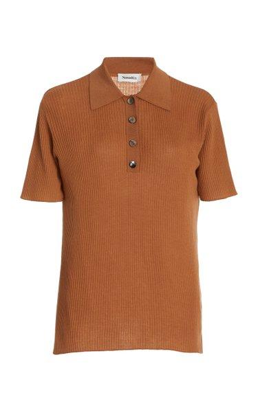 Hatti Merino Short Sleeve Polo Neck Top