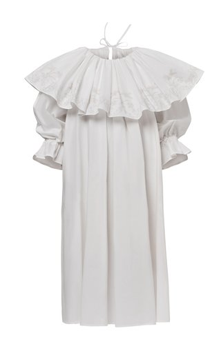 Dina Pleated Cotton Poplin Dress
