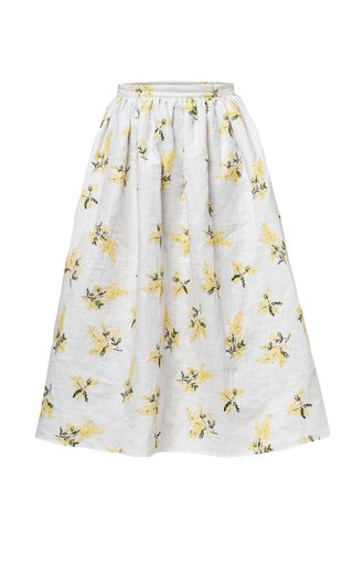 Zena Jacquard Cotton Midi Skirt