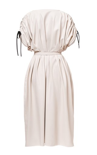 Nika Belted Pleated Vegan Leather Dress