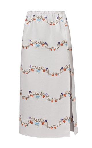 Melissa Printed Slit Crepe Skirt