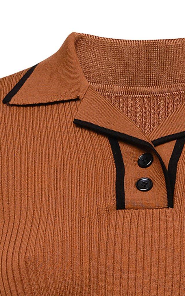 Gloria Collared Knitted Wool Top