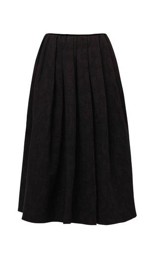 Masha Pleated Jacquard Cotton Skirt