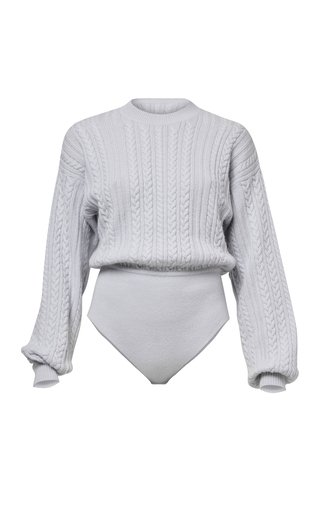Gemma Cable Knitted Wool-Cashmere Bodysuit